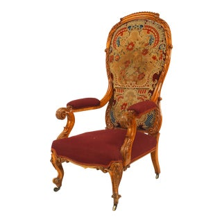English Victorian Satinwood Arm Chair For Sale