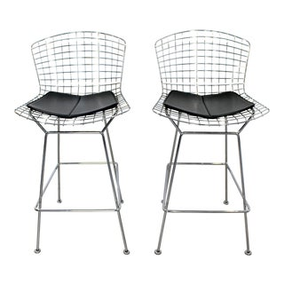 Modernist Pair of Reissued Bertoia High Bar Stools Chrome and Black Vinyl Knoll For Sale
