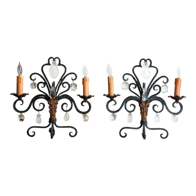 1940s Chic French Candelabra Lights - a Pair For Sale