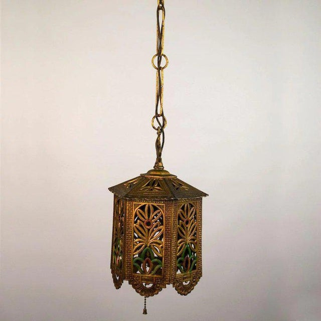 Art Deco 1930's American Polychrome Cast Metal Reticulated Lantern For Sale - Image 3 of 6