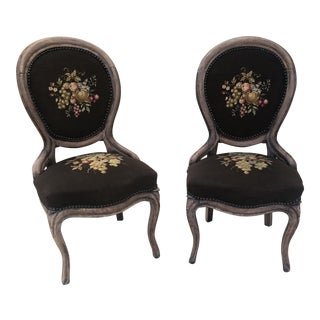 Victorian Needle Point Parlor Chairs - a Pair For Sale