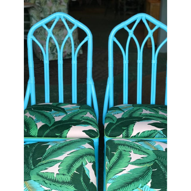 Coastal Regency Lexington Cathedral Turquoise Palm Leaf Upholstered Chairs-Four For Sale - Image 6 of 12