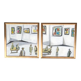 """Gallery Wall Collection 2 Original Contemporary Stewart Ross Abstract Paintings """" Museum Series"""" - a Pair For Sale"""