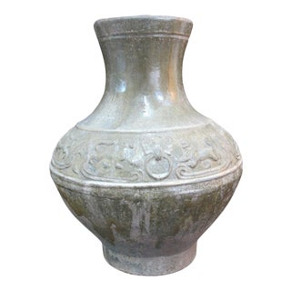 """Large Antique Chinese Lion Han Dynasty Style Yue Ware 15"""" Tall Jar Pottery Vase For Sale"""