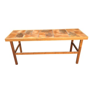 Vintage Mobler Teak Tile Top Console Table For Sale