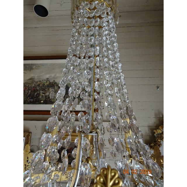 Metal 19th Century French Empire Crystal Chandelier For Sale - Image 7 of 13