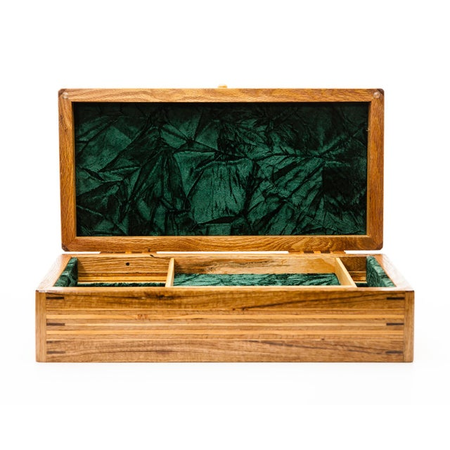 Scandinavian Lawrence & Scott Reclaimed Wood One-Of-A-Kind Lined Jewelry Box For Sale In Seattle - Image 6 of 12