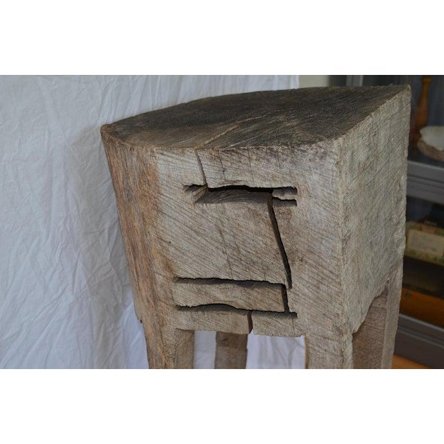 Primitive Chopping Butcher Block With Knife Slots Carved From Fallen Maple Tree For Sale - Image 10 of 12