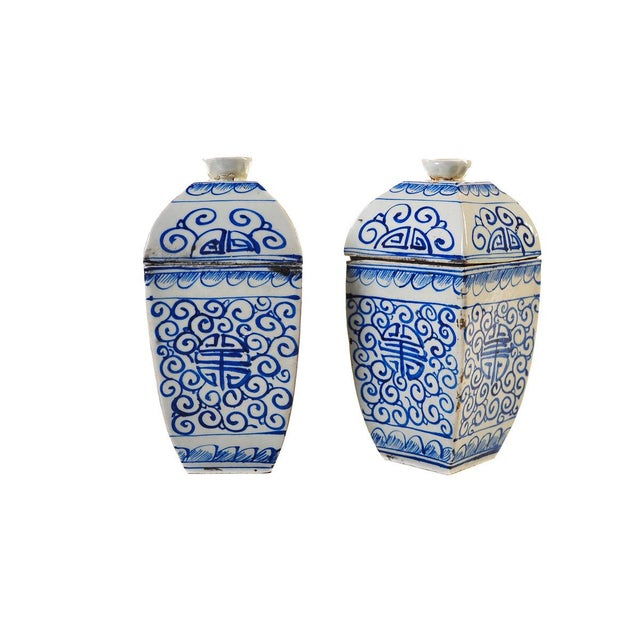 """Offering a Chinese 19th century pair of blue & white lidded urns - 9"""". In excellent condition."""