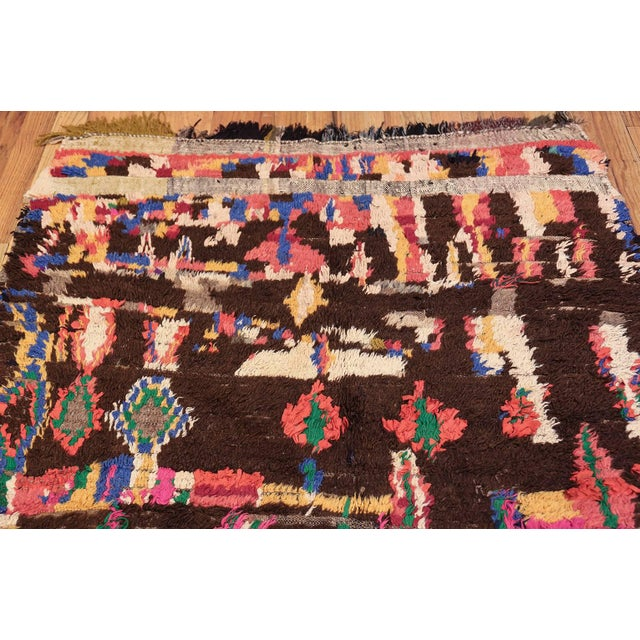 Late 20th Century Mid-Century Vintage Folk Art Moroccan Rug - 4′9″ × 10′4″ For Sale - Image 5 of 10