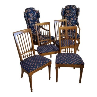 Vintage Drexel Esperanto Dining Chairs With Jim Peed Wingback Chairs - 6 Total