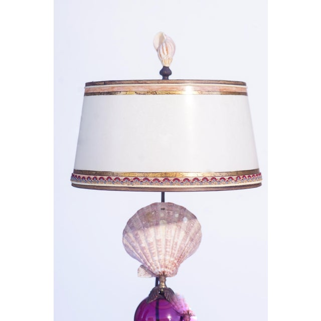 Italian Vintage Shell Lamps With Murano Glass For Sale - Image 3 of 5