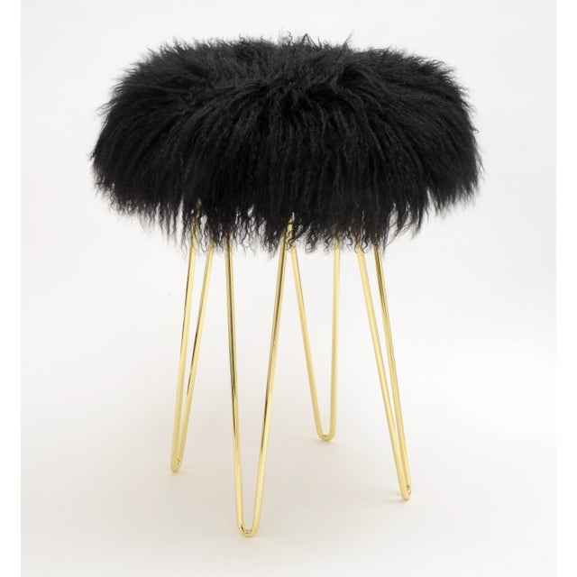 Modern Curly Black Hairpin Brass Counter Stool For Sale - Image 3 of 3