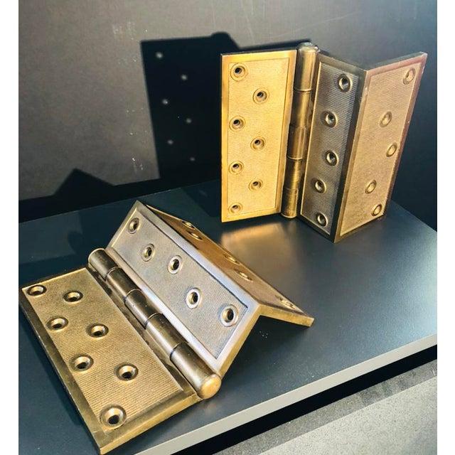 H&D Mf'G CO.PAT JAN 16.1877 Solid bronze hinges (pair) (Corner hinges)