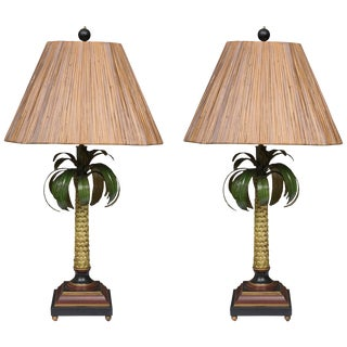 Hand-Painted Palm Tree Lamps With Custom Bamboo Shades - a Pair For Sale