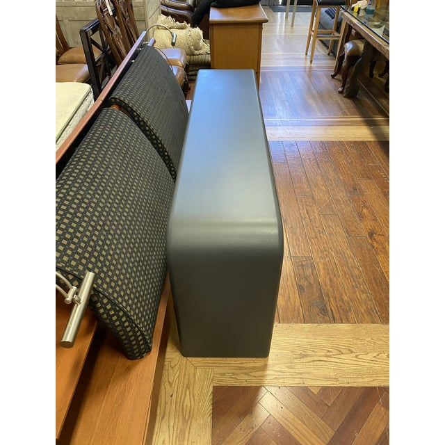 Design Plus Gallery presents a late 20th century custom designed arch console table. Attributed to the iconic Karl...