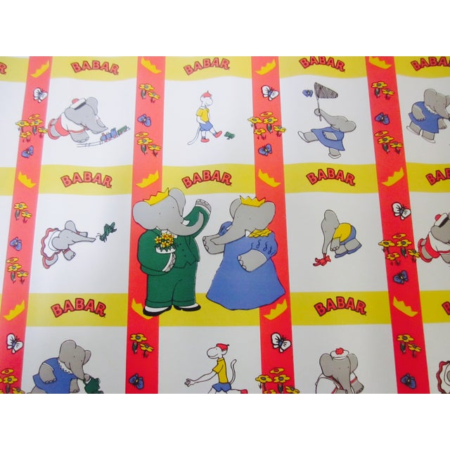 French Babar Wallpaper or Adhesive Paper - 1.5 Yrd For Sale