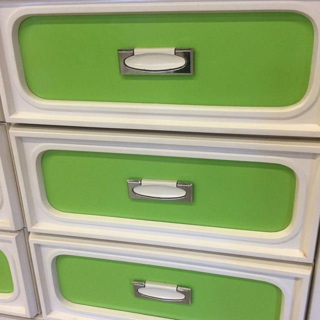 Mid Century Lime Green & White 9 Drawer Dresser For Sale - Image 4 of 13