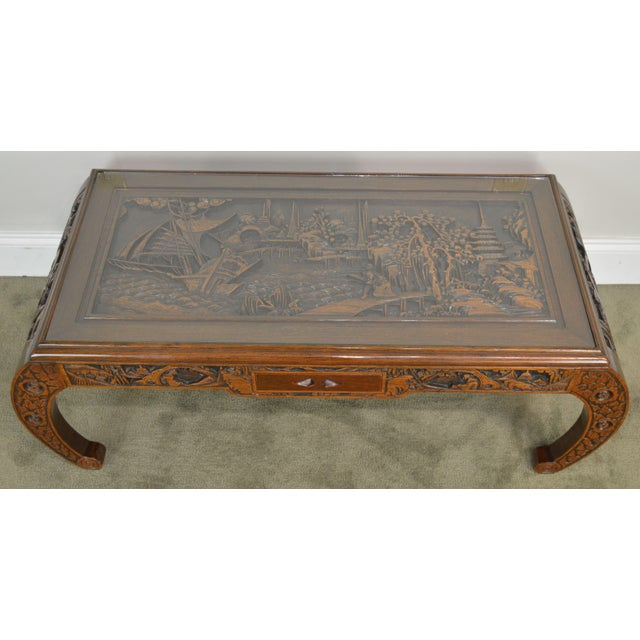 Wood Vintage Oriental Asian Hand Carved Hardwood Coffee Table For Sale - Image 7 of 13