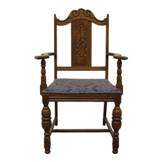 Vintage Antique English Revival Gothic Jacobean Dining Arm Chair For Sale