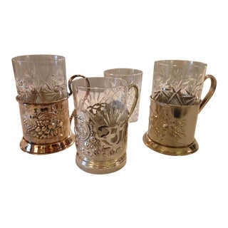 Russian Tea Holders Silver Plate Metal Crystal Glasses - Set of 3 For Sale