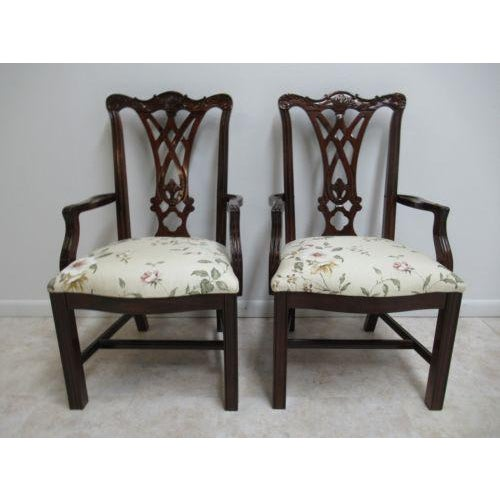 Thomasville Solid Mahogany Chippendale Dining Arm Chairs - a Pair For Sale - Image 12 of 12