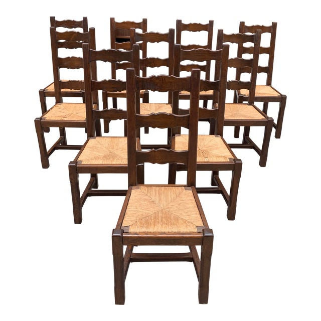 1910s French Louis Philippe Rush Seat Solid Walnut Dining Chairs - Set of 10 For Sale