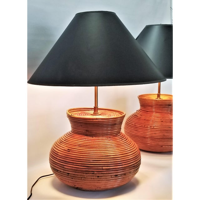 Gabriella Crespi Style Large Pencil Reed Table Lamps - a Pair - Restored - Mid Century Modern Palm Beach Boho Chic Wicker Rattan Seagrass For Sale - Image 9 of 13