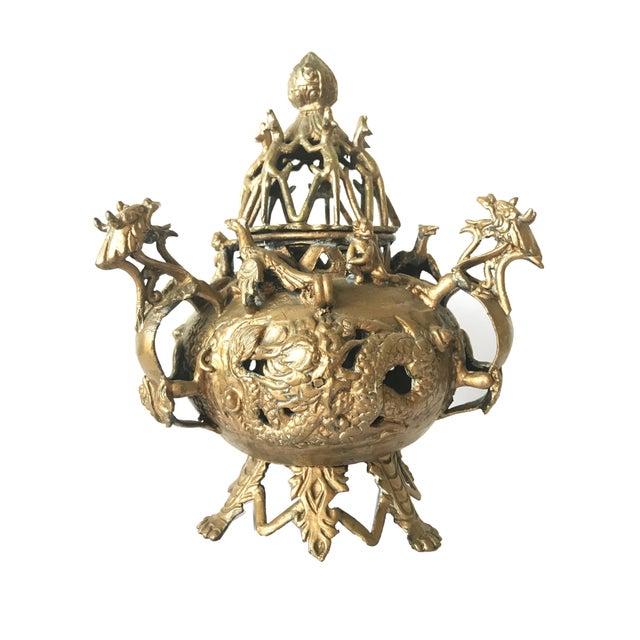 Vintage Chinese Dragon Motif Gold Brass Censer For Sale - Image 4 of 4