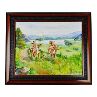 Native American Indians on Horseback Painting For Sale