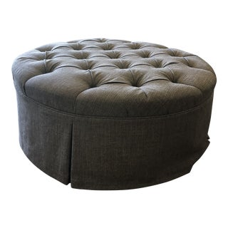 Tufted Ottoman Upholstered in 'Romo' Tweed Wool