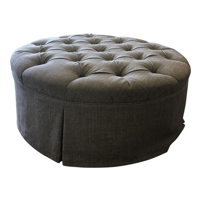 Tufted Ottoman Upholstered in 'Romo' Tweed Wool For Sale
