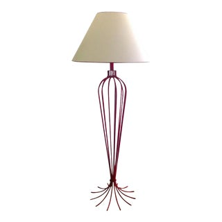 Jean Royère Exceptional and Rare Red Floor Lamp Model 'Millepatte' For Sale