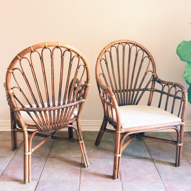 1990s 1990s Vintage Rattan Chairs- A Pair For Sale - Image 5 of 5