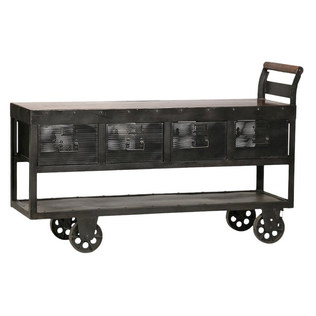 Industrial Iron Trolley Console For Sale