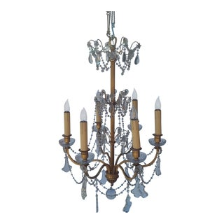 English Gilt Brass and Crystal Chandelier For Sale
