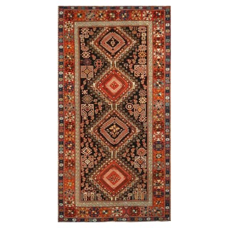 Antique Shirvan Transitional Geometric Red and Blue Wool Rug For Sale