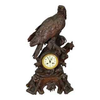1900 Antique Swiss Wooden Mantle Clock With Eagle For Sale