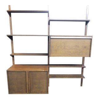 Vintage Mid Century 2 Bay Hanging Wall Unit w Desk & Storage Cabinet ~ Bookcase For Sale