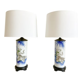 1950s Blue & White Chinoiserie Lamps & Shades - a Pair For Sale