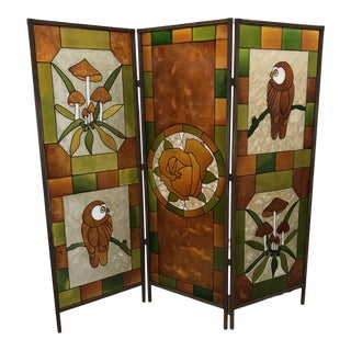 Mid Century Kitchy 3-Panel Screen Room Divider For Sale