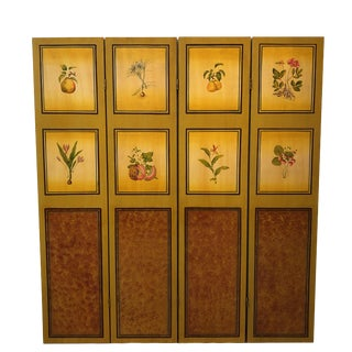 Andres De Morgades Handpainted Four Panel Folding Screen For Sale