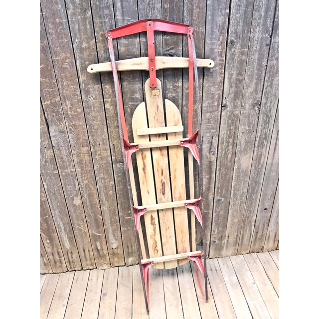 Vintage Weathered Wood & Metal Runner Sled -- Flexible Flyer For Sale - Image 9 of 12