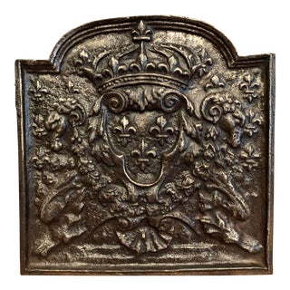 Mid-19th Century Polished Iron Fireback With French Royal Coat of Arms For Sale