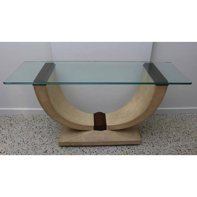 This stylish Art Deco style console is fabricated in shagreen, zebra wood and glass. The piece will make the perfect...
