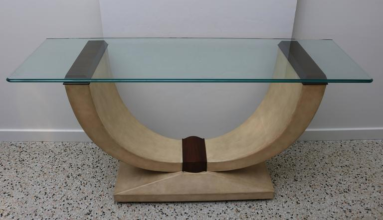 Delightful Art Deco Style Console Table In Shagreen, Zebra Wood And Glass Top   Image 2
