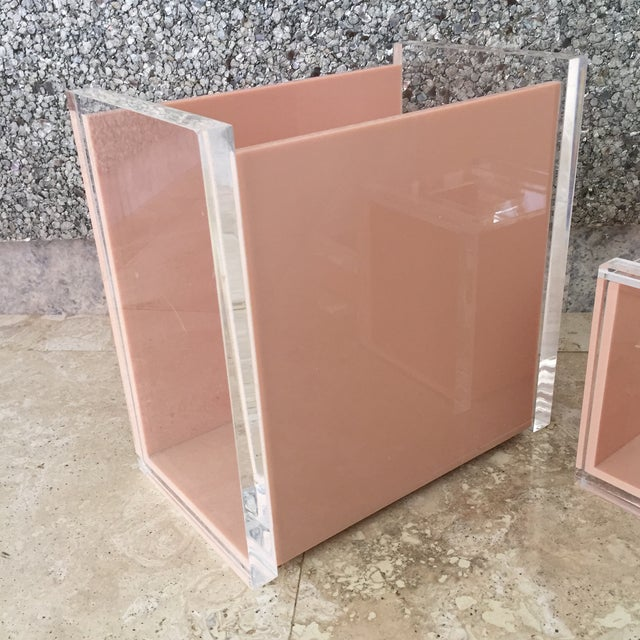 Mid-Century Modern 1970s George Bullio Signed Tan Lucite Organizing Accessories, MCM - 4 Pieces For Sale - Image 3 of 12