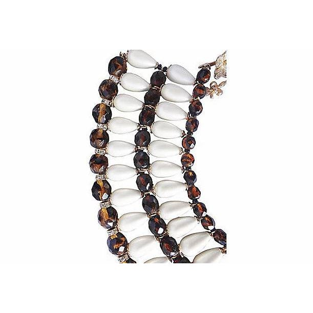 Mid-Century Modern 1960s Vendome Faux-Pearl Bib Necklace For Sale - Image 3 of 8