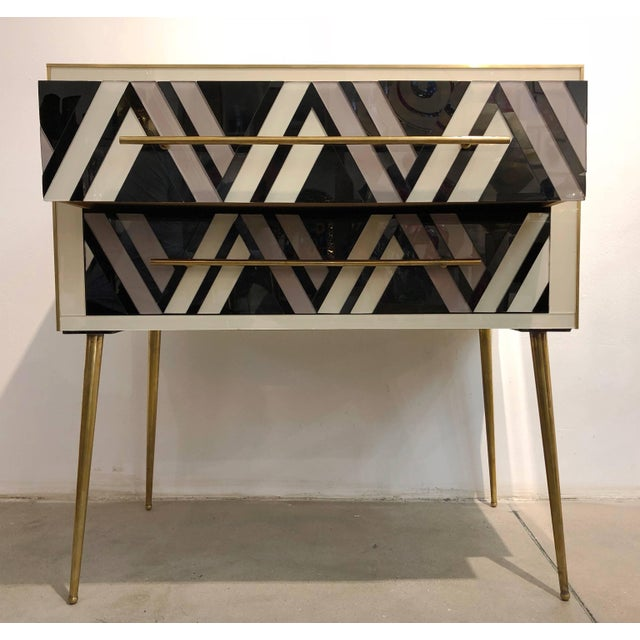 Metal 1990 Italian Graphic Pair of Geometric Black White Rose Gray Chests/ Side Tables For Sale - Image 7 of 9