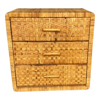 Vintage Wrapped Rattan 3 Drawer Chest For Sale
